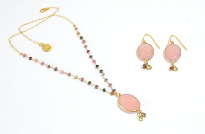 Colgante y pendientes rosa cuarzo PlataScarlata